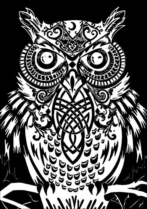 Owl black background - Owls Coloring Pages for Adults