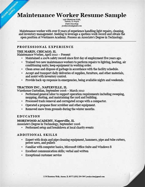 Maintenance Worker Resume maintenance worker resume sle resume companion