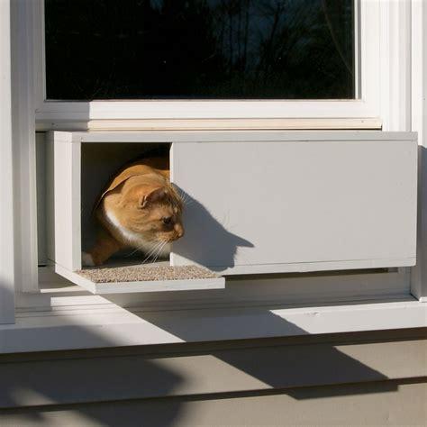 window cat door the easy mount window cat door hammacher schlemmer