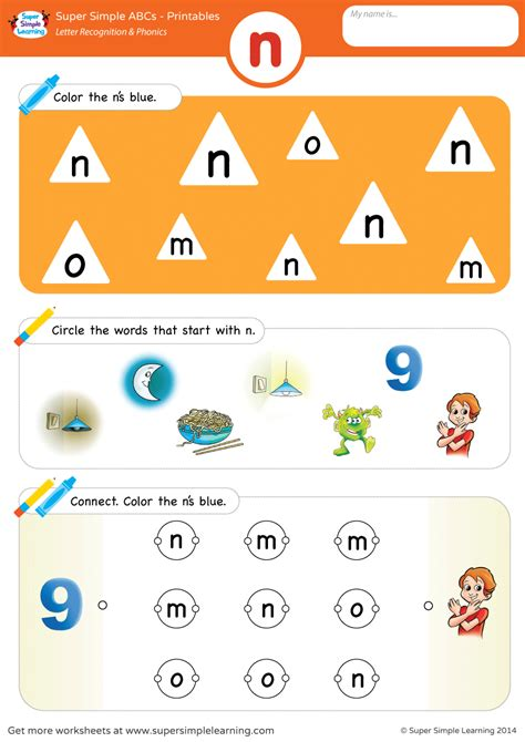 letter recognition phonics worksheet n lowercase