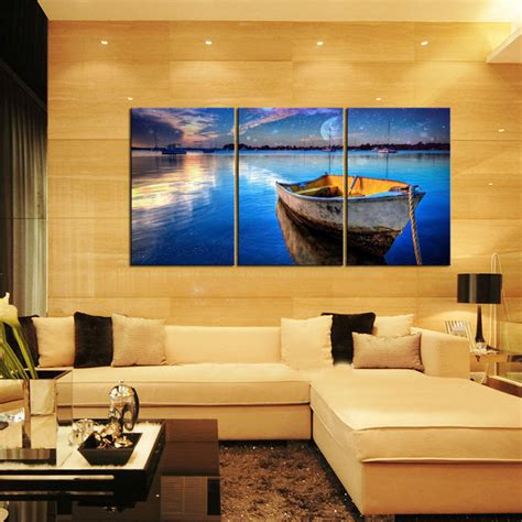 home interiors paintings canvas prints home decor wall painting blue sea boat