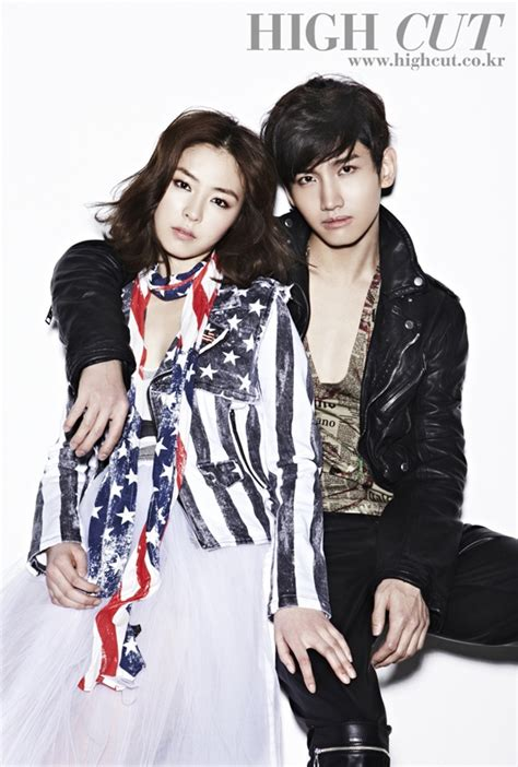 shinee swimsuit shim changmin and lee yeon hee pull off rocker chic style