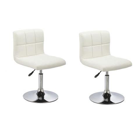 chaise de cuisine en cuir blanc lot de 2 chaises de salle 224 manger cuisine simili cuir blanc hauteur r 233 glable cds09014