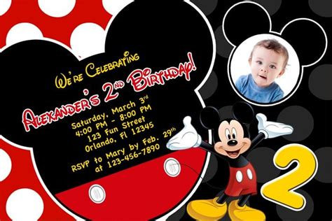 Mickey Mouse Invitations Template by Free Printable Birthday Invitations Mickey Mouse