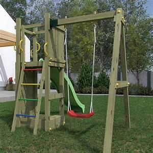 Aire De Jeux En Bois Pour Particulier : portique en bois pour enfants avec toboggan et balan oire ~ Dailycaller-alerts.com Idées de Décoration