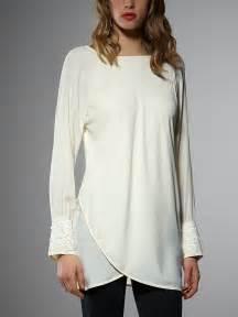 White Long Sleeve Tunic Tops