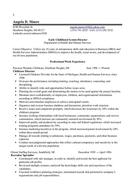 resume for early childhood educator 1 early childhood director resume 2014