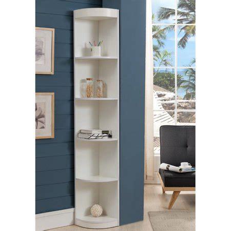 White Corner Bookcases by Furniture Of America Maleena 5 Shelf Corner Bookcase In