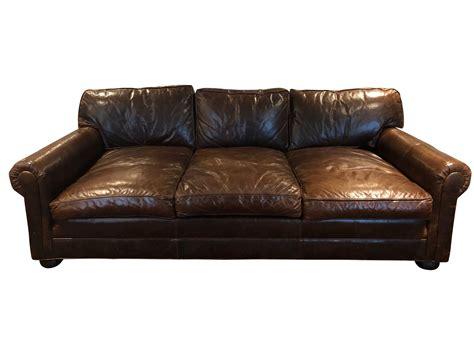 restoration hardware leather roll arm sofa the