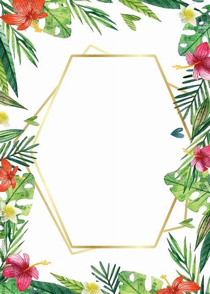 Invitation Templates Printable Floral Watercolor Tropical Hawaiian