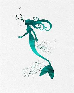 Watercolor Art Mermaid Modern 8x10 Wall Art Decor Mermaid