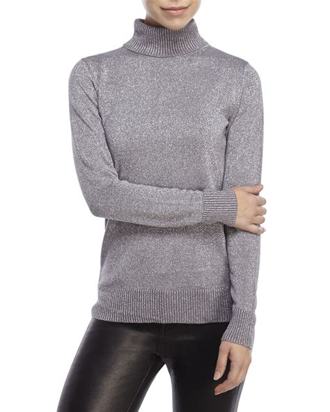 Joseph A Turtleneck Metallic Lurex Sweater In Silver