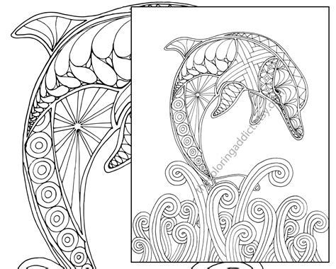 Drawn Dolphins Coloring Book