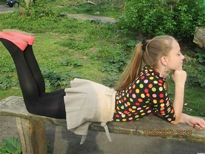 Candid Pantyhose Tights Nylon Heels Only Skirt