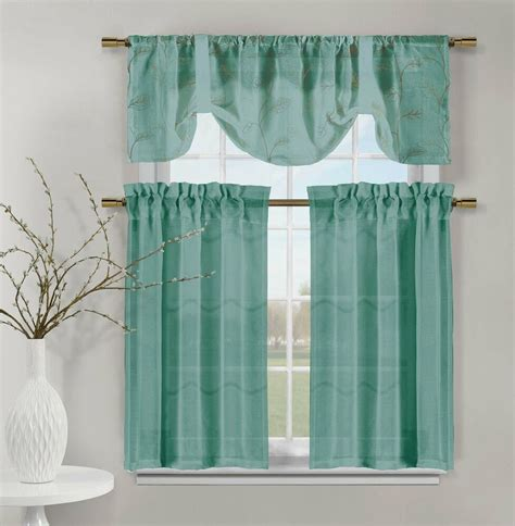 teal videira gold leaf embroidery kitchen curtain set