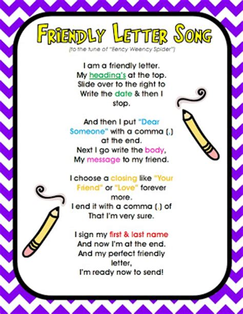 Parts Of A Friendly Letter Song Friendly Letter Parts Of A