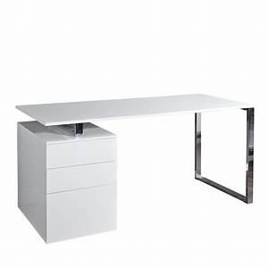 Schreibtisch Mit Schubladen : schreibtisch office 160 cm mdf chrom wei b rotisch mit 3 schubladen ebay ~ Frokenaadalensverden.com Haus und Dekorationen