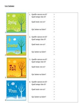 saisons seasons in french worksheet by jer teachers