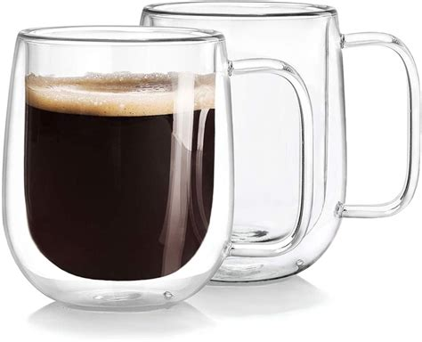 This elegant cup is transparent and light. Double Wall Glass Coffee Mugs Tea Cups Set of 2, Thermal Insulated and No   eBay