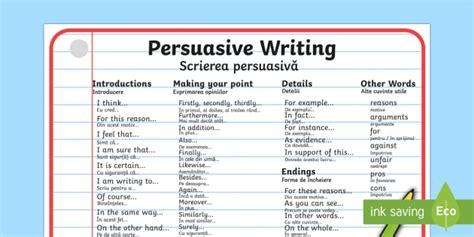 Persuasive Writing Word Mat Englishromanian  Persuasive Writing Word Mat