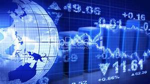 Globe And Graphs Blue Stock Market Loopable Background