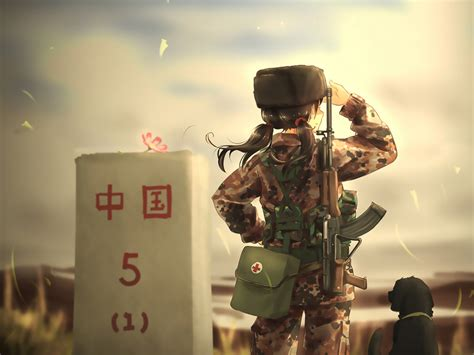desktop wallpaper soldier army anime girl dog hd image