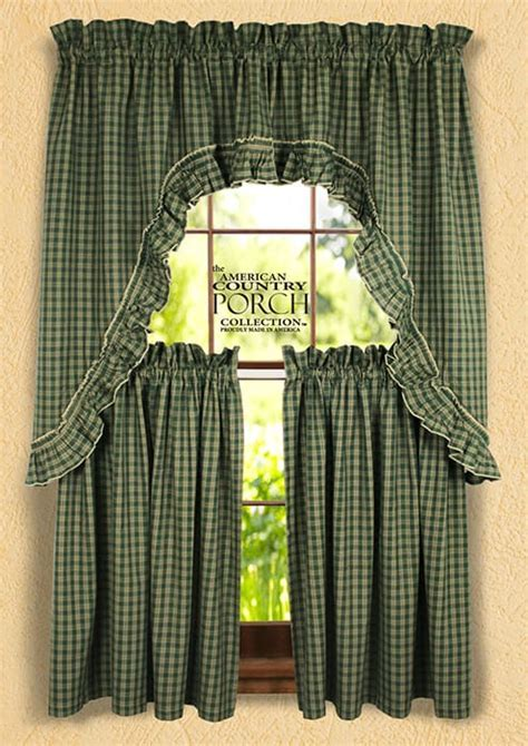Williamsburg Green Ruffled Window Curtain Swags
