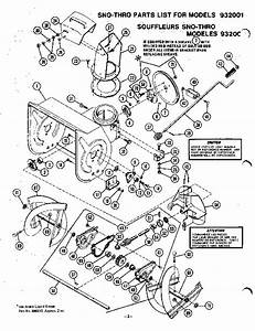 Ariens Sno Thro 932001 000101 Up Snow Blower Parts Manual