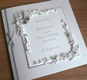 quilled 60th diamond wedding anniversary card mum and dad With images of diamond wedding anniversary cards