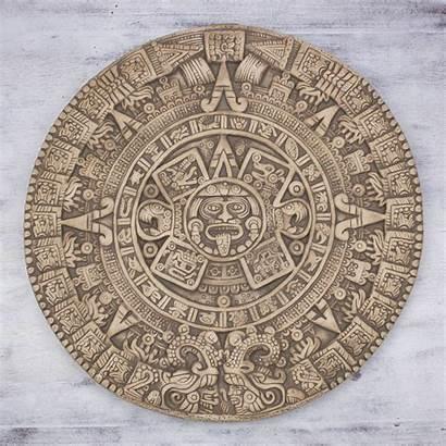 Aztec Calendar Sunstone Wall Ceramic Sculpture Mexico