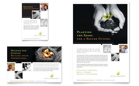 wealth management services flyer ad template design
