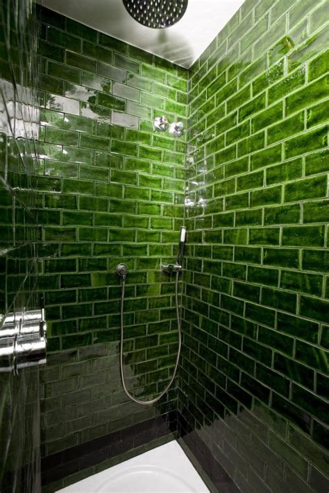 green subway tile rich green glass subway tile in the shower decorations