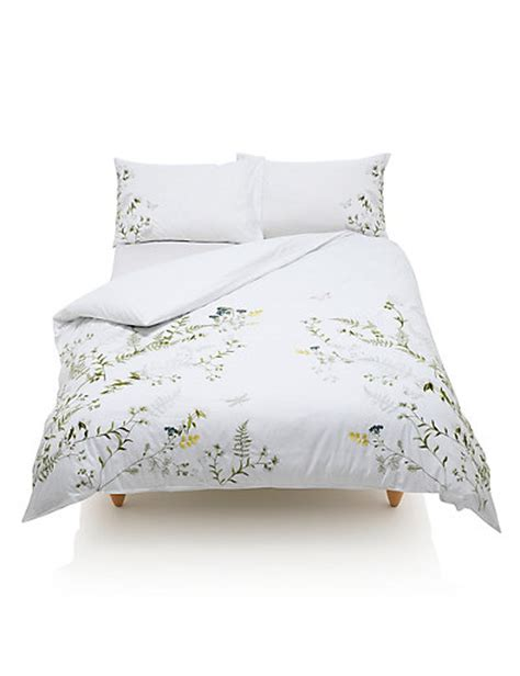 Botanical Embroidered Bedding Set M&s