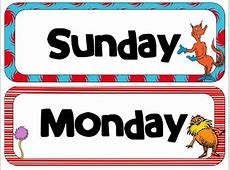 Dr Seuss Theme Calendar Headers Months and Days of the