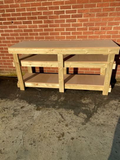 ft mdf top workbench   shelves heavy duty work benches