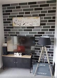 Mur Effet Brique : mur effet brique la peinture imaginer mur blanc matte et faire les briques blanches laqu es ~ Melissatoandfro.com Idées de Décoration