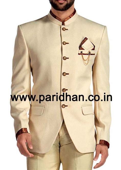 ivory color mens ivory jodhpuri suit  pc trimming work