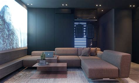 Dark Moody Bachelor Pad Design  Single Bedroom  Ee  L Ee    Ee  Shaped Ee