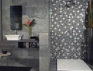 carrelage salle de bain avec plaque mosaique salle de bain With salle de bain design avec plaque métallique décorative