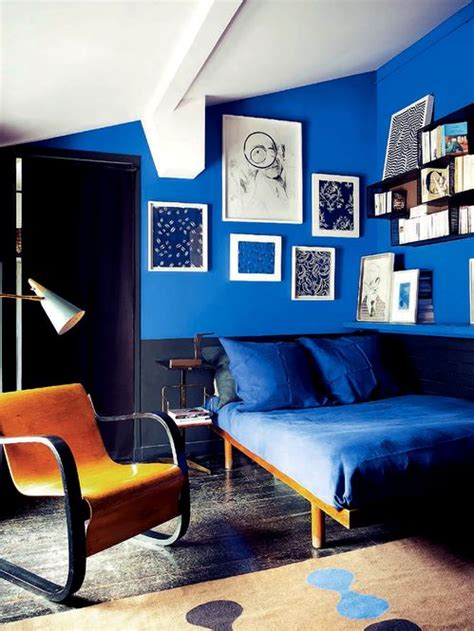 Bedroom Walls Painted Blue by Royal Blue Black And Modern Interiors By Color