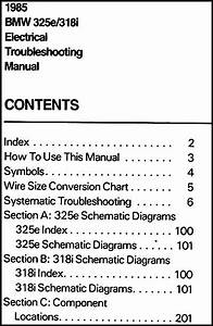 1985 Bmw 325e 318i Electrical Troubleshooting Manual