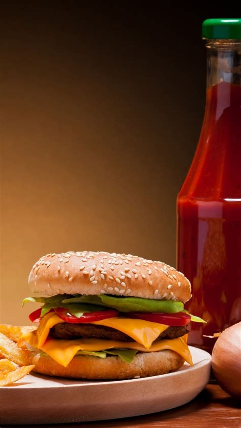 wallpaper cheeseburger fast food french fries cheese