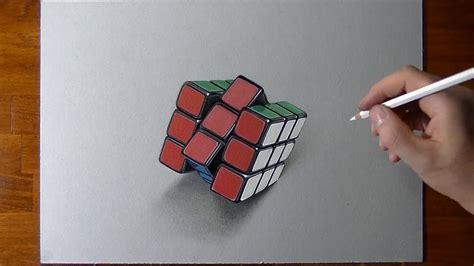 disegno realistico  timelapse cubo  rubik youtube