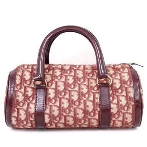 vintage christian dior monogram burgundy red  handbag