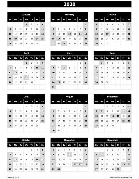 yearly calendar sun start excel template