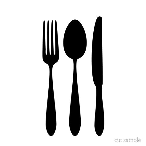 cutlery clipart silhouette pencil   color cutlery