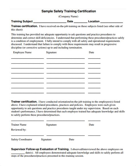 Safety Certificate Template by Safety Certificate Template 9 Free Word Pdf Document