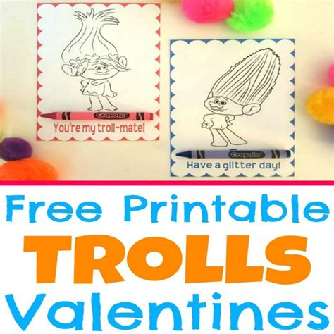 printable trolls  valentine coloring cards simple  pretty
