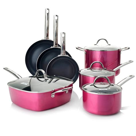 pink pots and pans set for sale todd english color ceramic nonstick 11 piece cookware set pink new ebay
