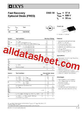 DSEI30-06A Datasheet(PDF) - IXYS Corporation